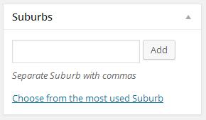 Suburb custom taxonomy