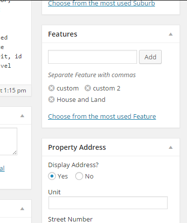 Listing Features Admin Easy Property Listings