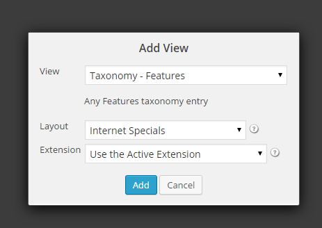 ithemes Builder Layout Engine Views Tab add taxonomy view