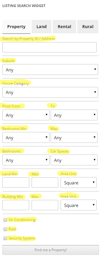 Search Widget Label Filters - Easy Property Listings