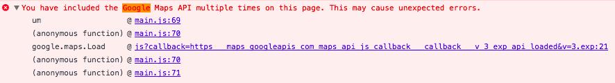 Duplicate Google Maps API Warning
