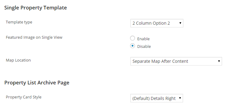 Listing Templates Add On Options